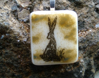 Stunning Line Art Fused Glass Hare necklace Pendant (Sitting Hare)