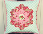 sweet hexie flower strawberry and aqua gingham pillow cover 16x16