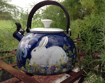 French Country Colbalt Blue enamelware tea kettle hand painted with white rabbit, bouquets posies, stovetop kitchen decor centerpiece vase