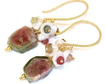 Raw Gemtstone Raw Tourmaline Rough Watermelon Tourmaline Slice Earring Tourmaline Jewelry Tourmaline Earring Rustic Tourmaline Jewelry