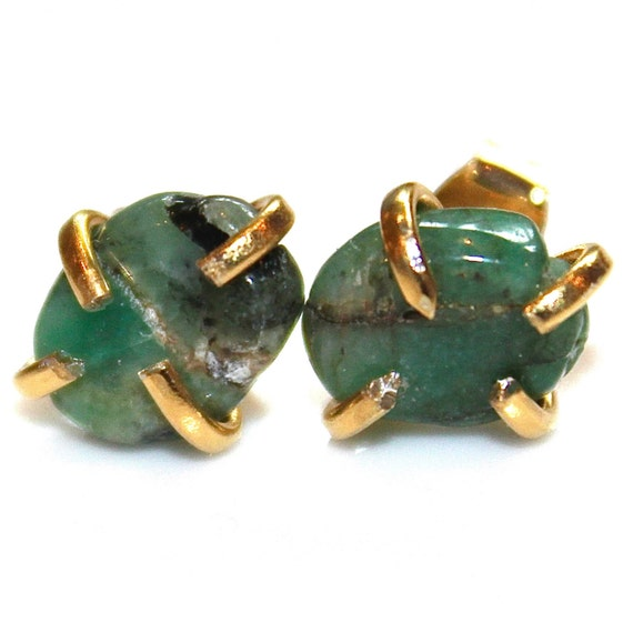 Raw Emerald Stud Earrings Organic Earrings Emerald By
