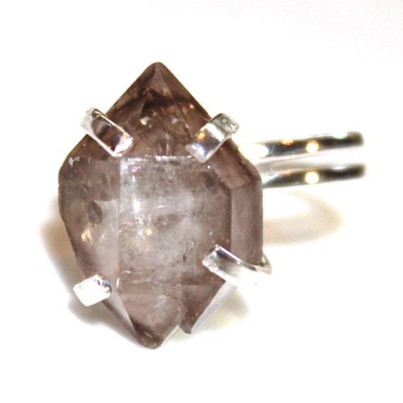 Smoky Herkimer Diamond Quartz Ring Chunky Ring Adjustable Ring Herkimer Ring Herkimer Quartz Jewelry Herkimer Jewelry Raw Stone Ring Modern