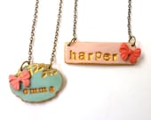 Nameplate Necklace, 7 year old gift for Girl, Ribbon, Name, cute, fun, pink and aqua, junior bridesmaids, Girl Birthday Favor, custom name