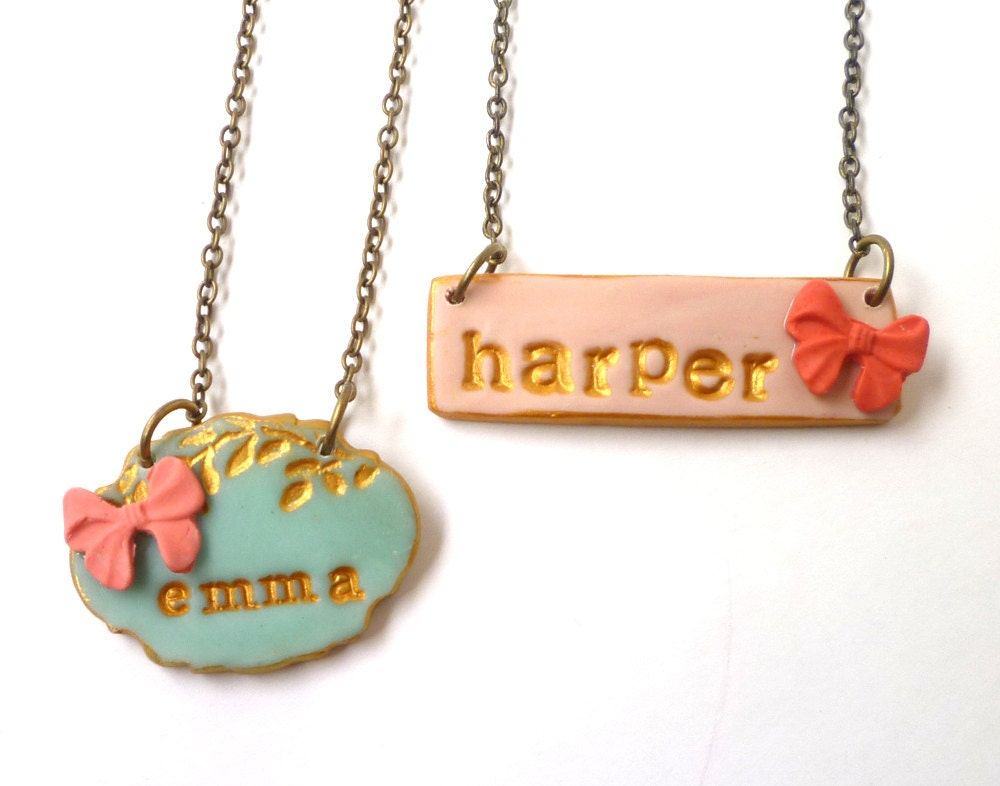 nameplate necklace 7 year old gift for girl ribbon name