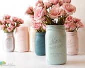 Wedding Decor Centerpiece Painted Mason Jars Home Decor Vase Blue Blush