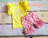 Bubblegum Polka Dot Ruffle Shorties- ruffle shorts- pink