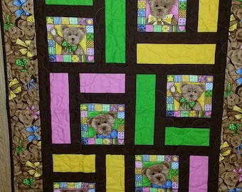 Baby Quilt, Boyd's Bear Quilt, Pink Quilt, Yellow Quilt, Bear Quilt, Baby Blanket, Lime Green Quilt.