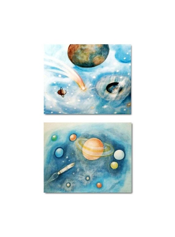 Outer space art kids decor solar system kids wall art for Decor outer space