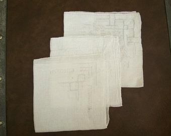 Three Vintage Drawn Thread Work White Handkerchiefs Hankies