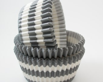 Gray Rugby Stripe cupcake liners (approx 40 ct) -  baking muffin cups greaseproof bulk cupcake papers