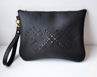 Black leather clutch bag, Black zipper cosmetic pouch, Leather handbag