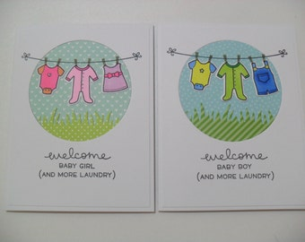 CLEARANCE - Handmade Baby Card - Baby Clothesline Card - Welcome Baby Girl/Baby Boy - And More Laundry - BLANK Inside