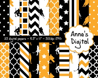 """Black and Gold Ice Hockey Digital Papers - Matching Solids Included - 23 Papers - 8.5"""" x 11"""" - Instant Download - Commercial Use (015)"""