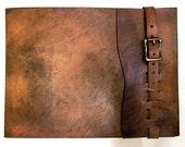 Large, Refillable Leather Sketchbook, Antique Brass Metal Roller Buckle, Journal , sketchbook cover, Drawing Book, Leather Bound, Album