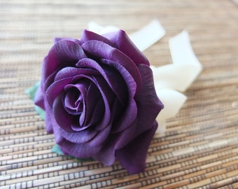 Men's Boutonniere, Purple Rose with ivory ribbon and rhinestone Boutonniere