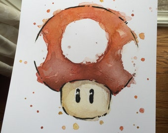 "SLIGHTLY IMPERFECT Red Mushroom Art Print - Nintendo Mario Art Watercolor Painting, 13x19"" Giclee, - SALE"