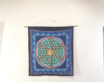 Wall hanging, Hand Painted Batik Flower of Life, Sacred geometry