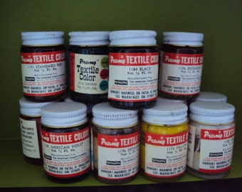 PRANG textile paints from the 1980's, set of 14