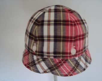 Infant  Sunhat, 6 gore with button-off brim and chin strap, red,brown, yellow plaid size 0-3 months c. 1950s