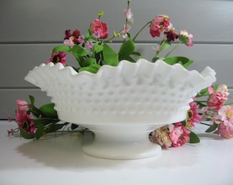 Milk Glass Fenton Bowl,  Hobnail Bowl, Wedding Decor, Wedding Centerpiece