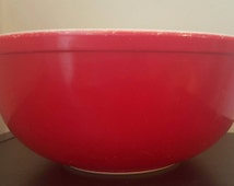 Vintage Pyrex Red #404 Mixing Bowl Vintage Nesting Bowl, 4 Quart, Primary Color, Vintage Kitchen, Gift for Mom, Vintage Home