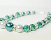 Teal Pearl and Crystal Dog Necklace - wedding dog collar, unique dog collar, sparkly, peacock blue, white pearl