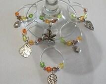 Cute Set of 6 Fall Acorn & Leaf Wine Charms