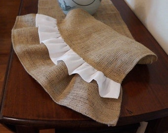 Natural Burlap Table Runner with Natural and White Ruffles - Various Sizes