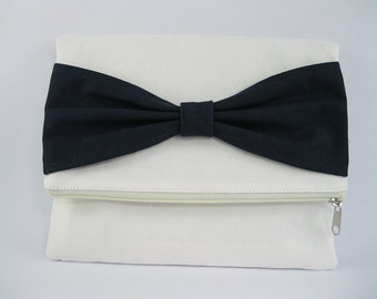 SUPER SALE - Fold Over Clutch, Personalized Clutch, Ivory with Navy Bow Clutch, Bridal Gift, Bridesmaid Gift, Wedding Clutch, Zipper Bag