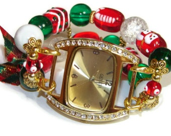 Christmas Chunky Beaded Watch in Gold - Interchangeable Watch - Apple Watch Band - Unique Watch - BeadsnTime - Christmas Watch - Gold Watch