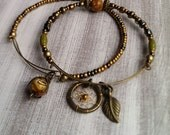 Adjustable Boho Dreamcatcher Bracelet/Bangle Set, bronze, with leaf charm