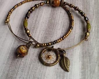 Adjustable Boho Dreamcatcher Bracelet/Bangle Set, bronze, with leaf charm