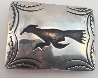 Vintage Navajo Sterling Road Runner belt buckle