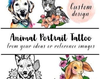 custom animal portrait illustration - design your own temporary tattoo - dog tattoo, cat tattoo, pet tattoo