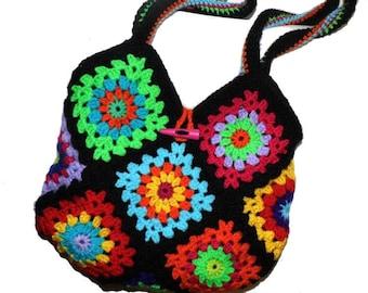 Multicolour * Crochet Bag Granny Square STYL *