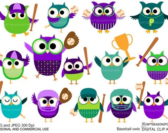 Baseball owls Digital clip art for Personal and Commercial use - INSTANT DOWNLOAD