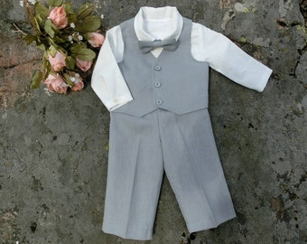 Baby boy wedding suit.  Baby boy baptism outfit. Baby gray linen suit. Baby  christening outfit. Baby boy linen outfit. First birthday suit.