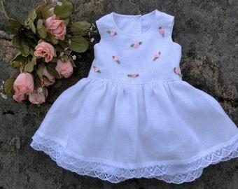 Christening dress,baby wedding dress,linen infant dress, newborn dress, baby girl special occasion dress, baby girl linen baptism dress