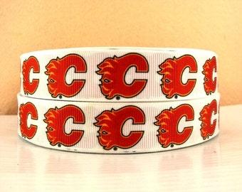 "7/8"" Calgary Flames Ribbon - 3 yards"