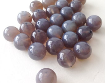 50% OFF Gray Chalcedony, Grey Chalcedony Smooth Round Beads, full strand, 14mm