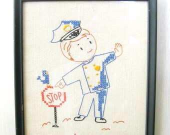 Embroidered Policeman, Nursery embroidery, child's room, Occupation Embroidery , Vintage embroidery, Child's Wall Art, Nursery Decor