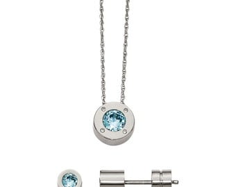 Stainless Steel CZ December Birthstone Earrings and Necklace