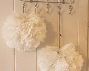 Tulle Pom Pom Set - White Lace Pom Pom Wedding Decoration - Set of 3 (ONE SET Left)