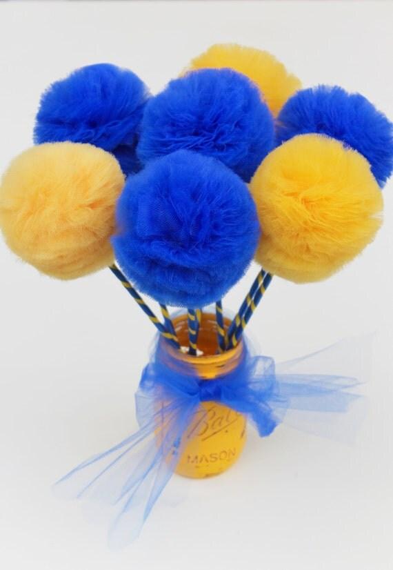 Graduation centerpiece royal blue and golden yellow premium