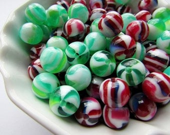 Green Beads Red Striped Beads Acrylic Beads 10 mm Round Beads Green Beads Red Beads Craft Supply (10)