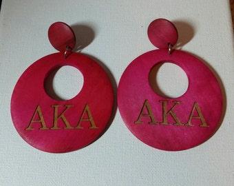 Earrings, Wooden Engraved Alpha Kappa Alpha Earrings, AKA, Hoop Earrings