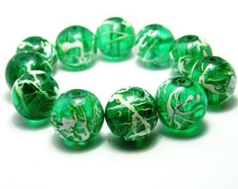 40 White & Green Beads 10mm Beads - Two Tone Drawbench Glass Beads B1092-5046