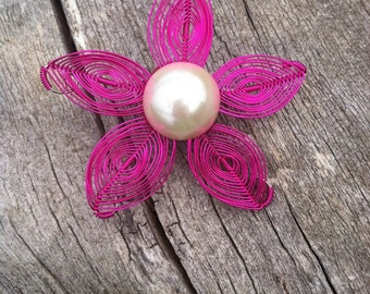 Herringbone Flower Brooch