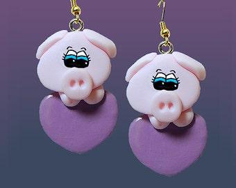 Pigs on Hearts Earrings