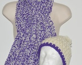 Keyhole scarf and hat set in Amemthyst / Purple, Adult winter accessory, Chunky crochet scarf, Gifts for her, Gift under 40